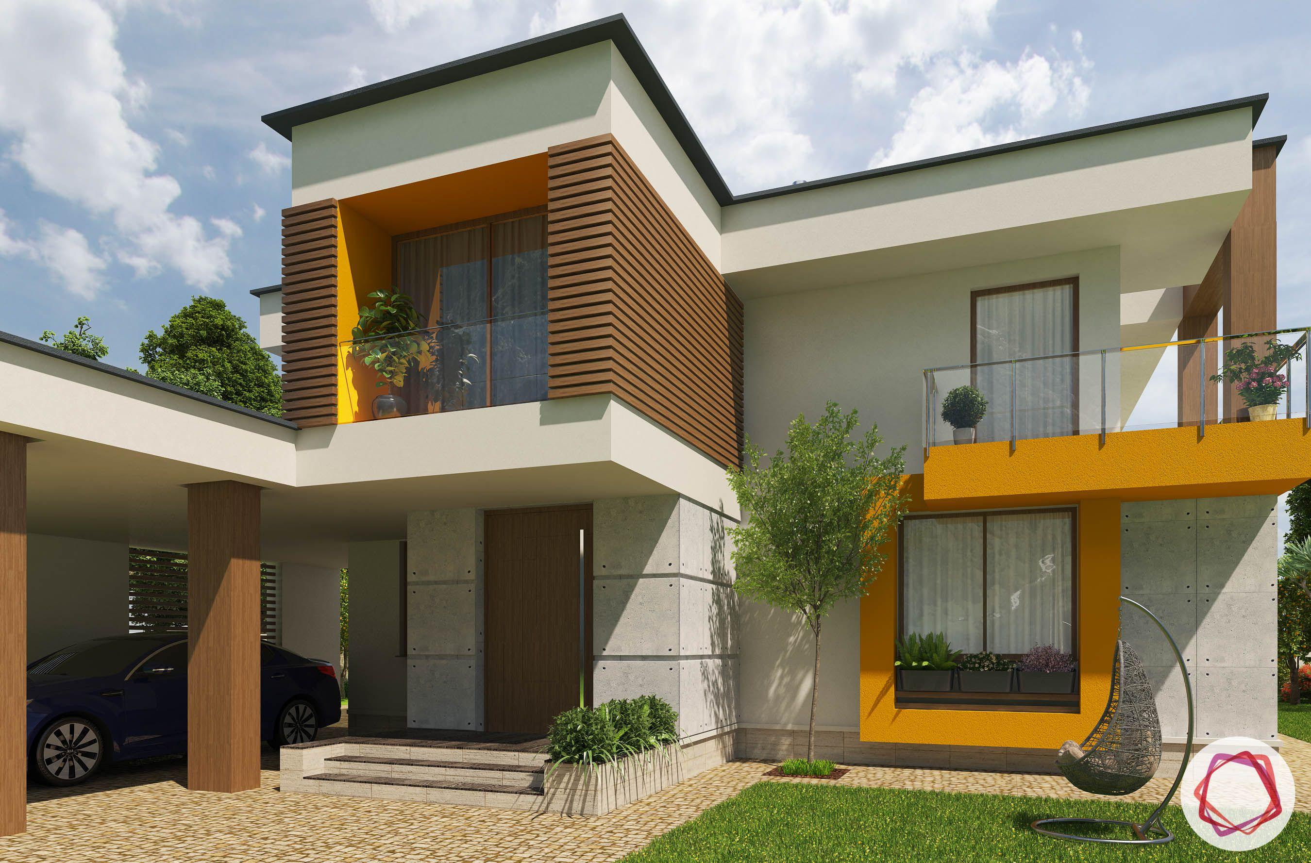 basic vastu for home-entrance-vastu compliant entrance-home exterior-bungalow-white and yellow house