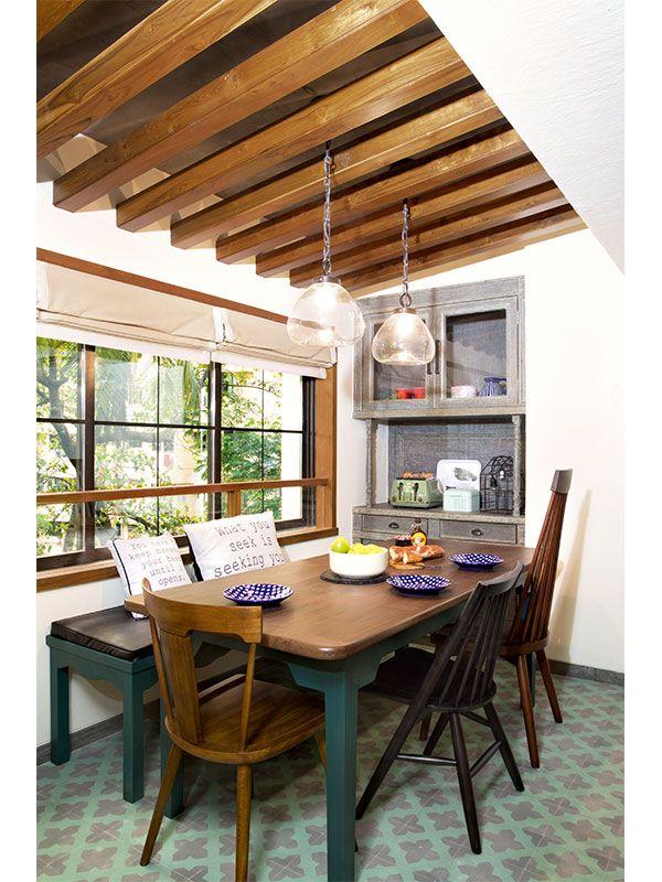 celebrity-homes-alia-bhatt-dining-table-light-cabinet-vintage-wood