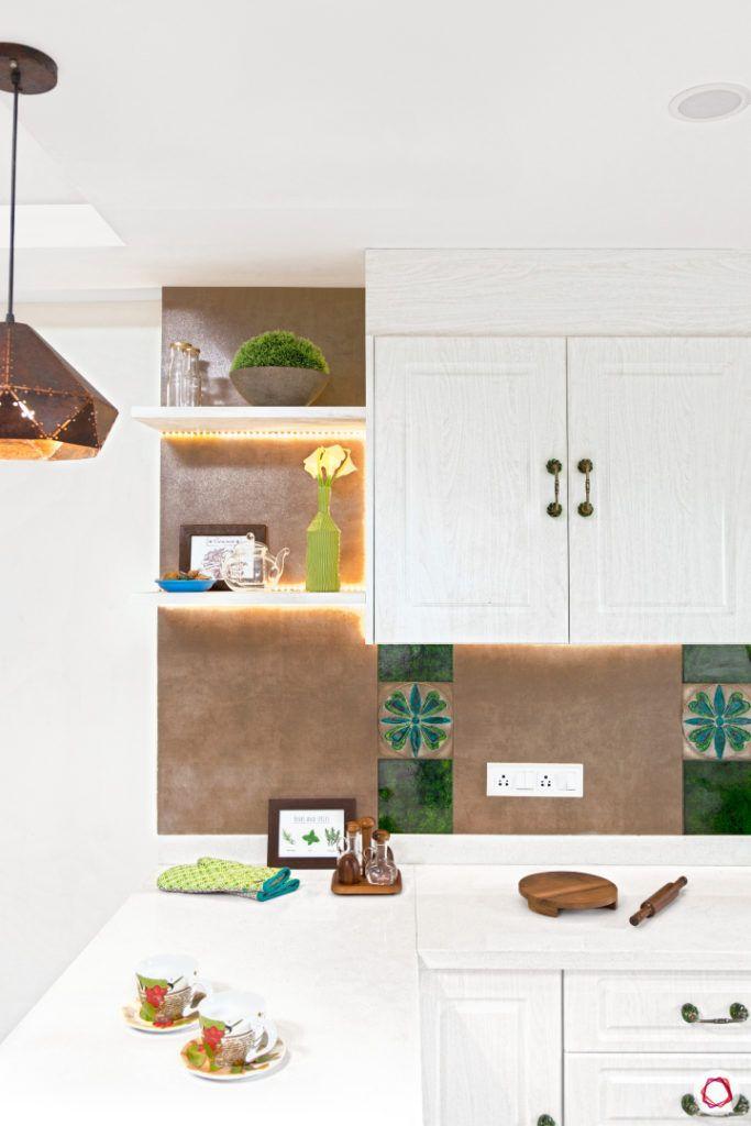 indian kitchen-white kitchen designs-open shelves for kitchen