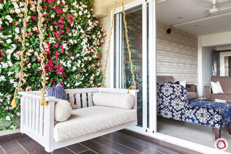 celebrity-homes-swing-balcony-vertical-garden-pillow-sofa-flooring