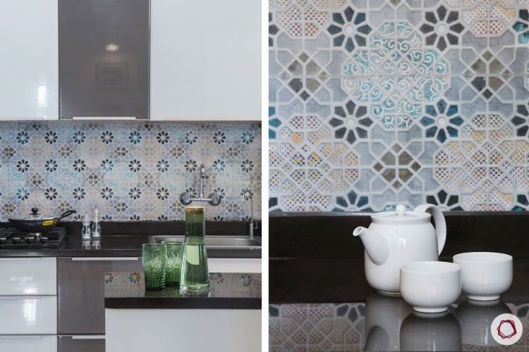 indian kitchen-two toned kitchen designs-moroccan tiles for kitchen