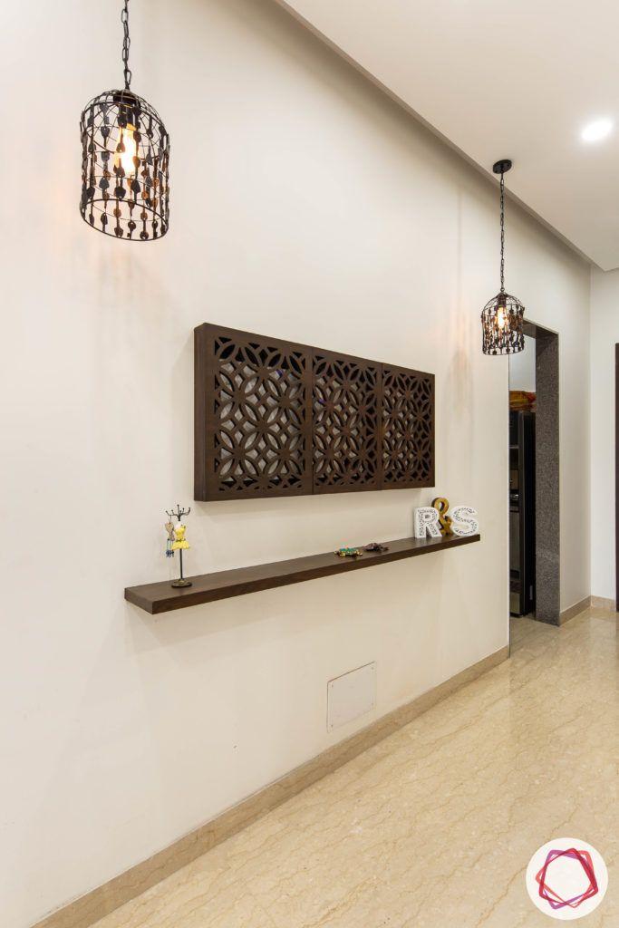 DLF garden villas-foyer-wood-light-shelf-false-ceiling-lights