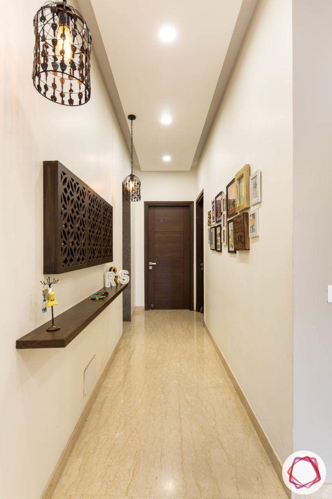 DLF garden villas-foyer-wood-light-shelf-false-ceiling-full