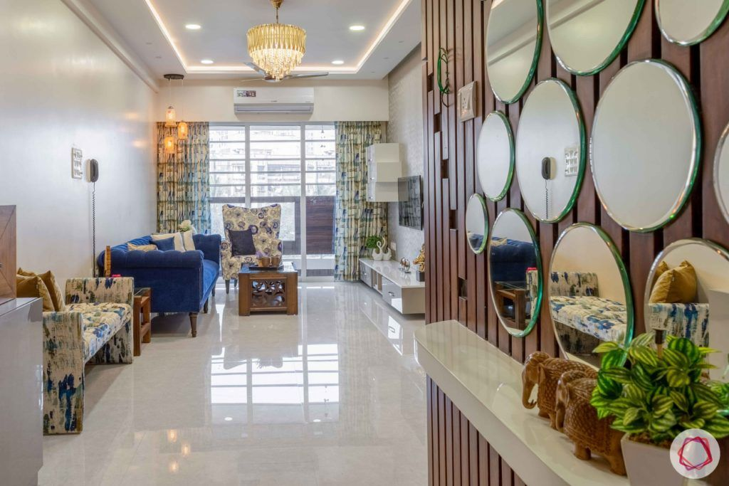 2 bhk flat interior-entrance-living room-foyer-mirrors