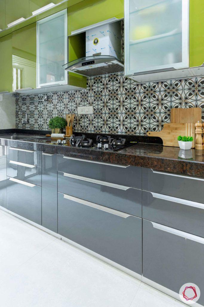 2 bhk flat interior-full kitchen-green kitchen