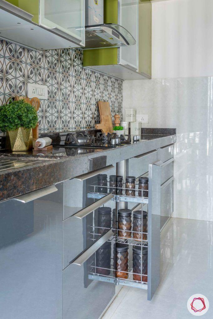 2 bhk flat interior-full kitchen-green kitchen-grey base units