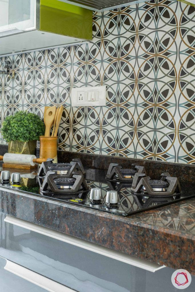 2 bhk flat interior-kitchen-glossy acrylic finish-moroccan tiles-hob unit
