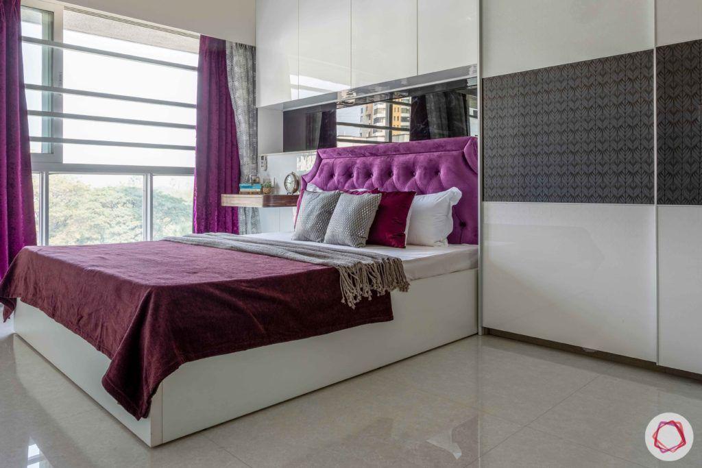 2 bhk flat interior-master bedroom-sliding wardrobe-white bed