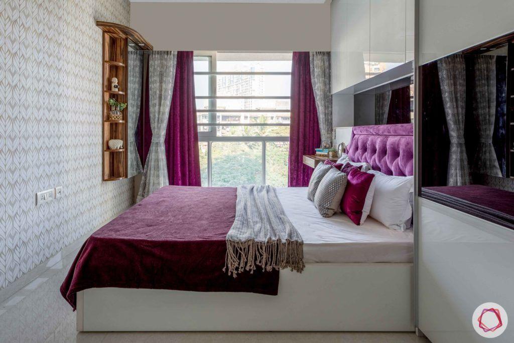 2 bhk flat interior-master bedroom-window-white bed-wall niche storage