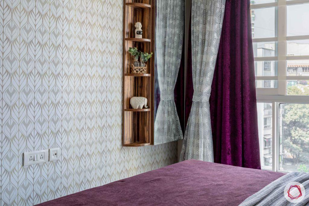 2 bhk flat interior-master bedroom-printed wallpaper-dresser unit