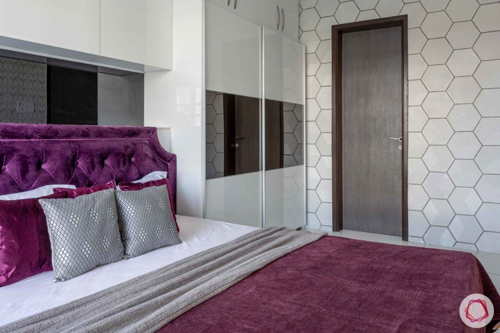 2 bhk flat interior-master bedroom-acrylic wardrobes-wall tiles