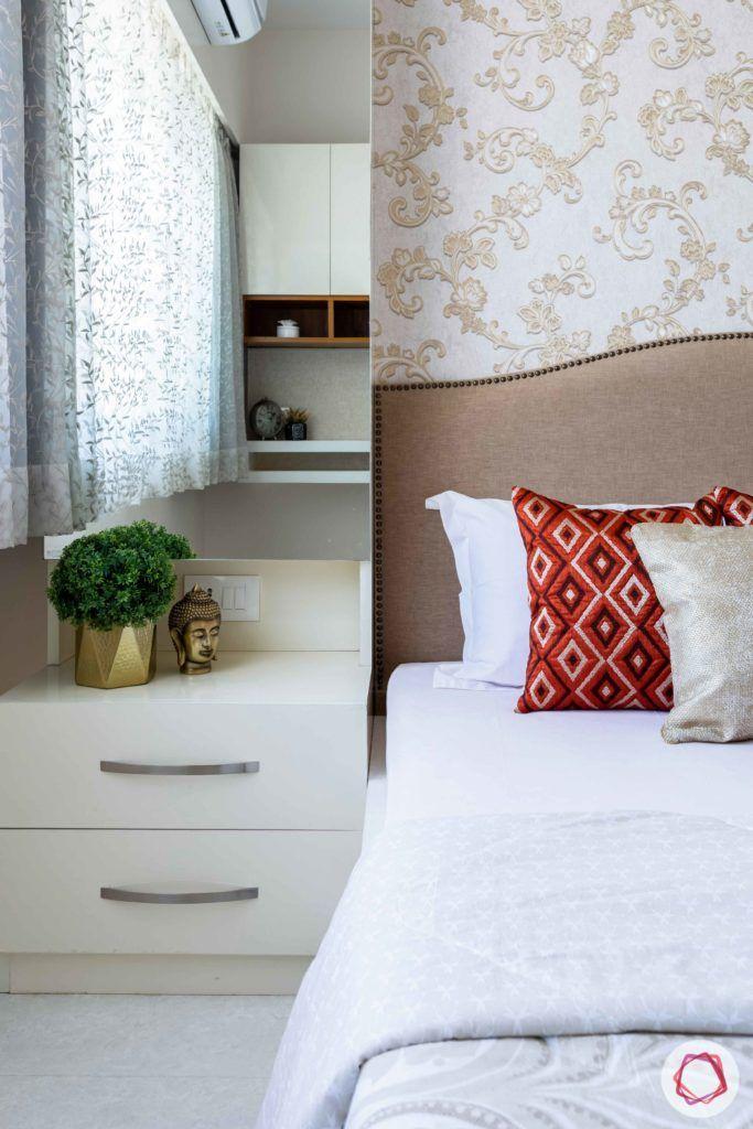 2 bhk flat interior-guest bedroom-dresser-drawers with dresser-nailhead trim headboard