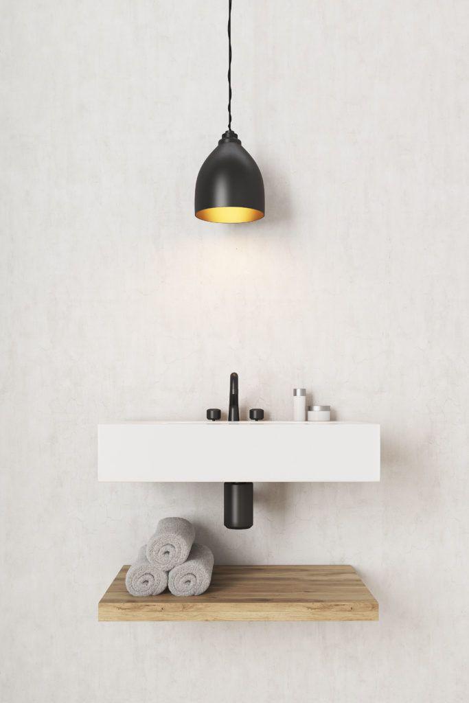 bathroom designs-bathroom shelves-floating shelves-diy shelves-pendant light