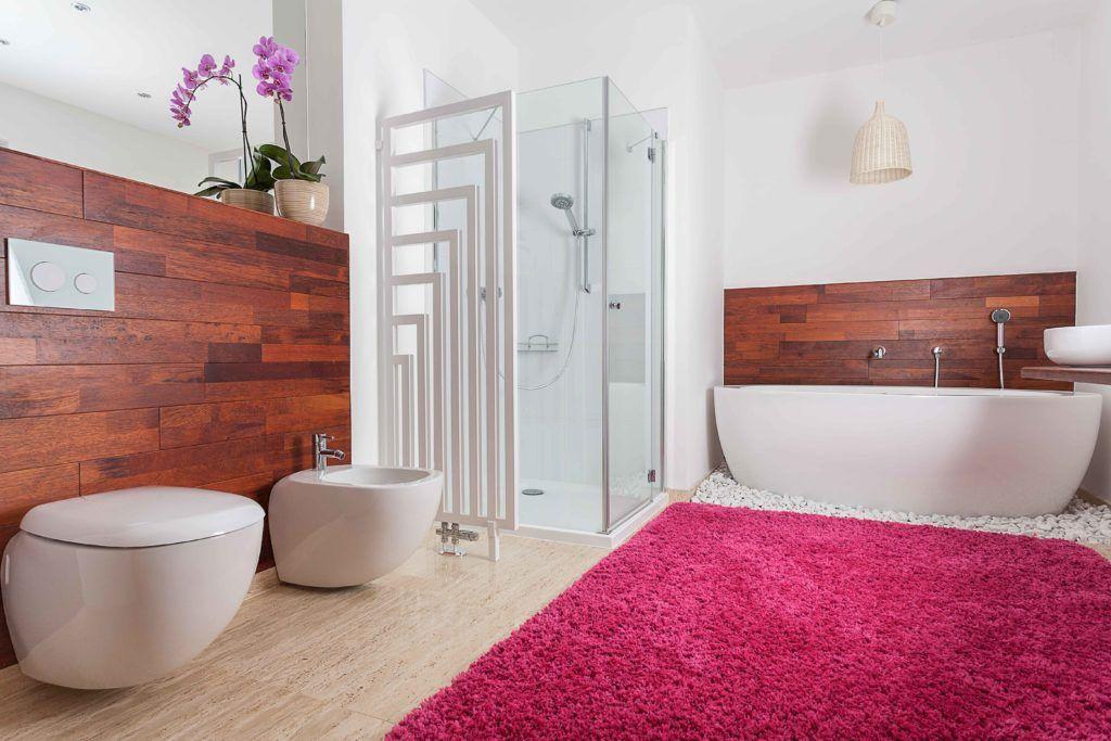 bathroom designs-bathroom rugs-bath rug-bright rug-red bathroom rug