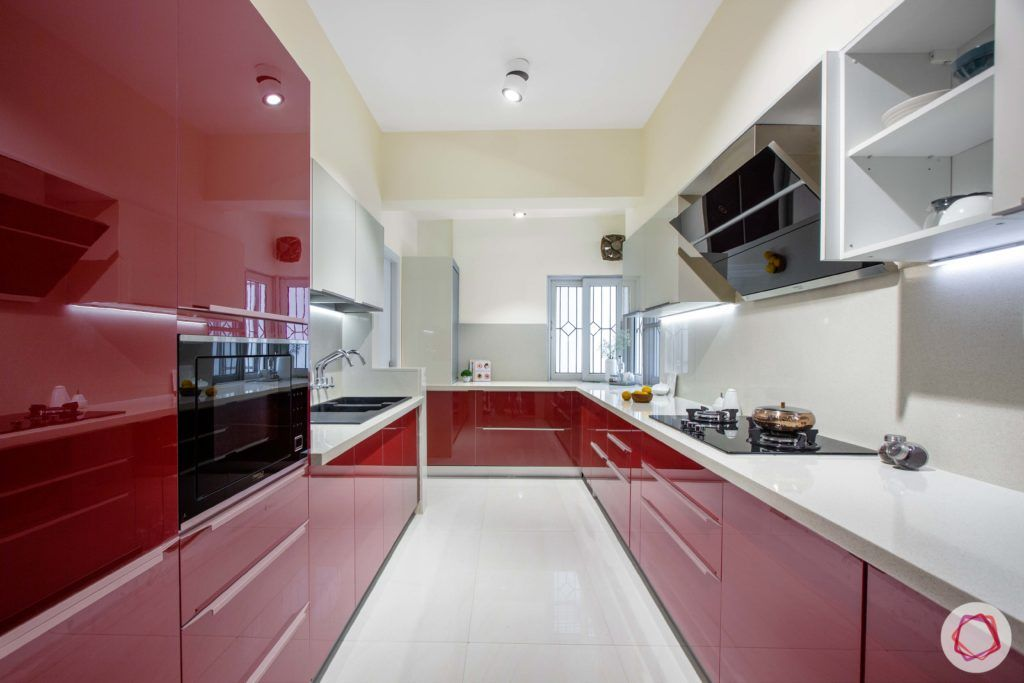 Brigade Millennium-red-white-kitchen-parallel-layout
