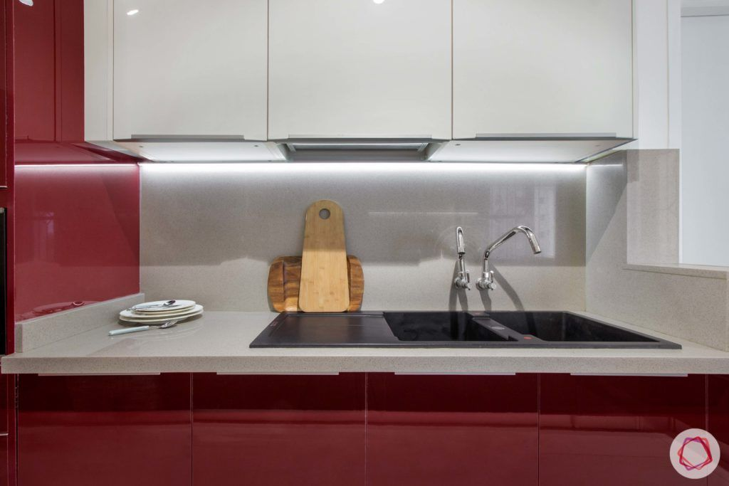 Brigade Millennium-Red-White-Kitchen-upper-lower-cabinets-sink-light