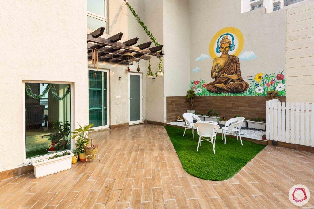 deck area-meditation zone-seating area-artificial turf-grass carpet