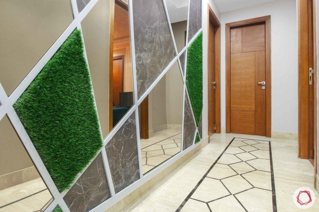 foyer-green wall-grass paneling-grass wall-artificial turf