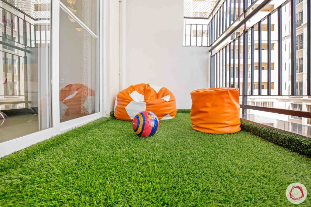 kids play area-grass carpet-artificial turf-bean bag-pouf