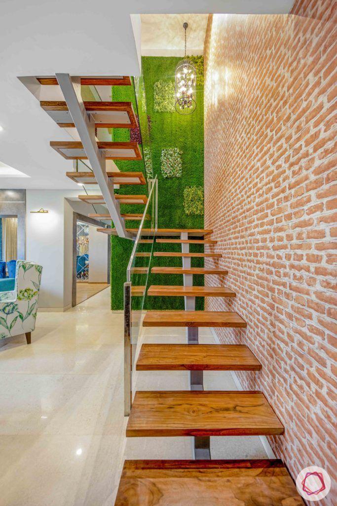 staircase-grass wall-vertical garden-artificial turf