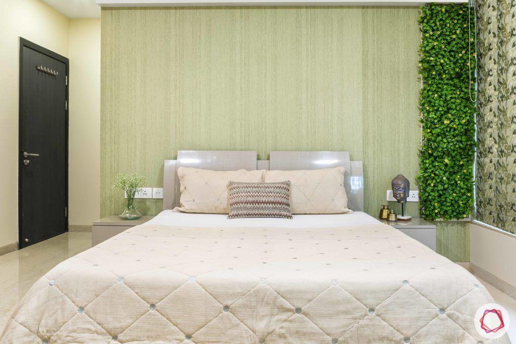 bedroom-grass panel-artificial turf-green bedroom