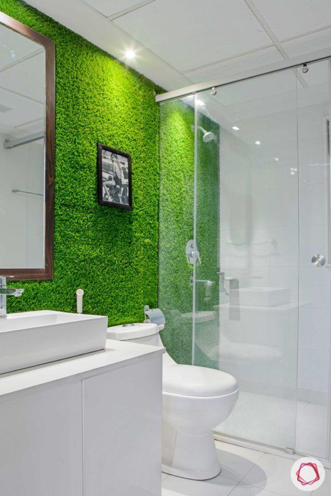bathroom-green wall-wall-artificial turf