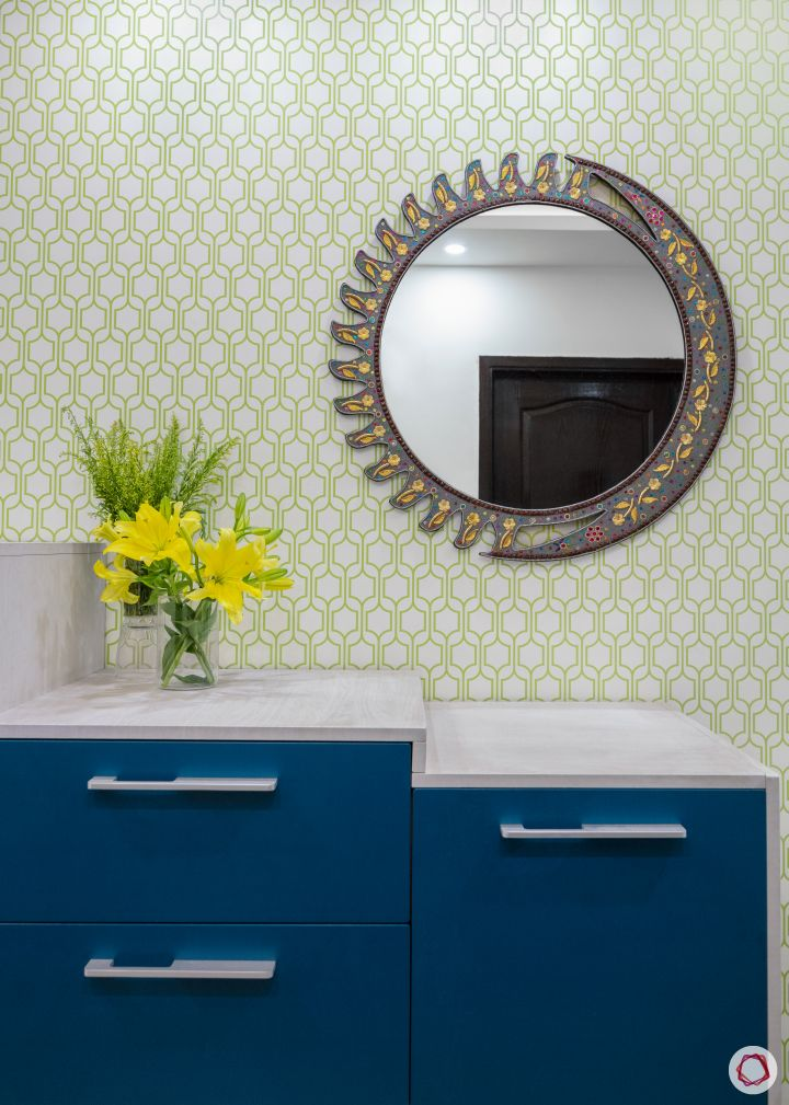 sunworld vanalika-foyer-entryway-shoe rack-accent mirror-printed wallpaper