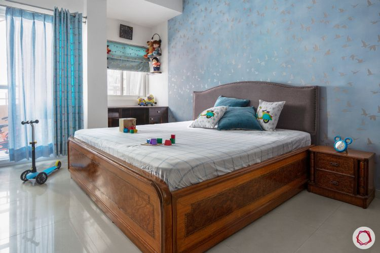 sunworld vanalika-guest bedroom-blue wallpaper-wooden bed-study corner