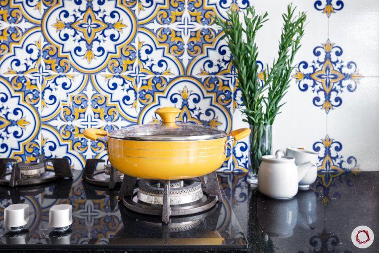 Kitchen Countertops-granite-white-black-Moroccan-Tiles-Pot-Stove