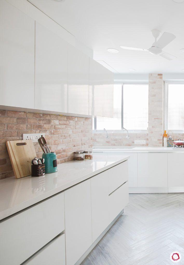 Kitchen Countertop-marble-Scandinavian-white-cabinets-brick-tiles
