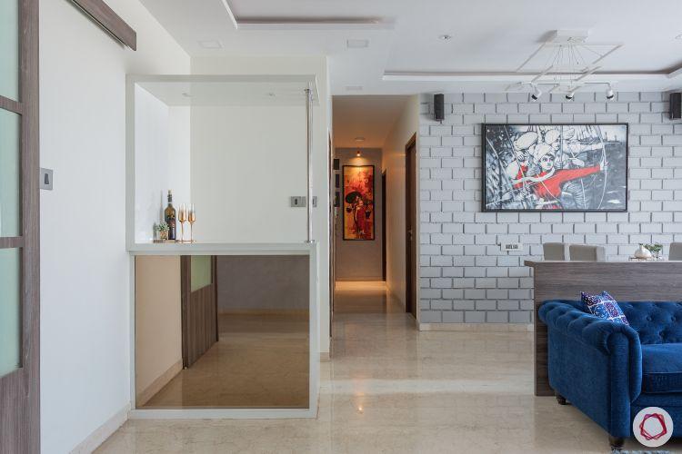 home mumbai-jaali partition designs-white brick wall designs-bar unit designs