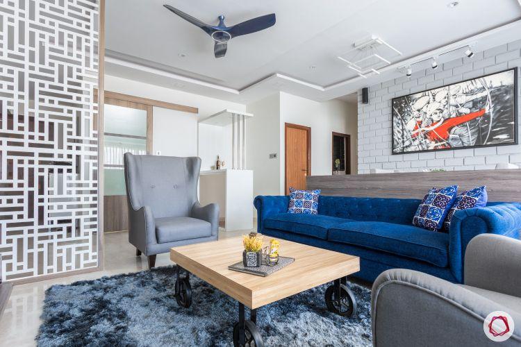 home mumbai-jaali partition designs-blue sofa designs-centre table designs