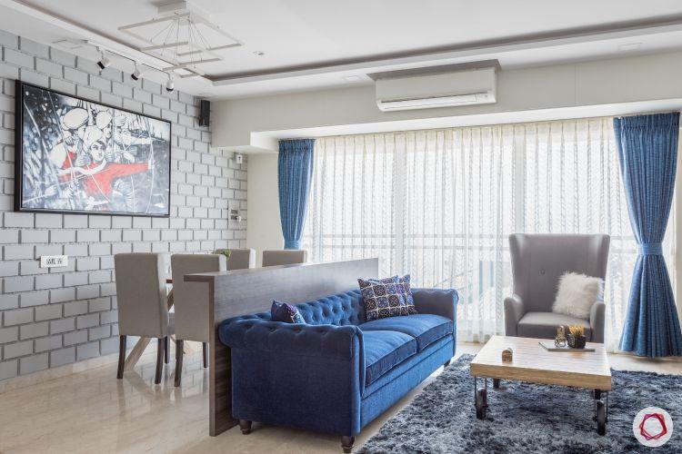 home mumbai-blue sofa designs-area rug designs-sheer drapes designs