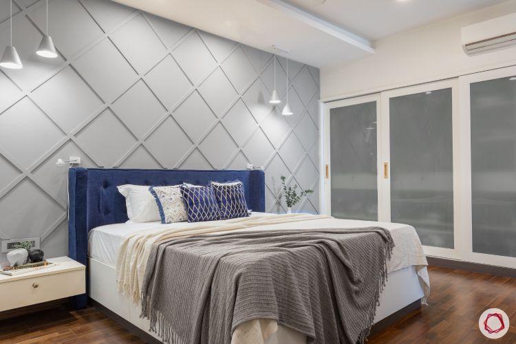 home mumbai-blue headboard designs-glass wardrobe designs