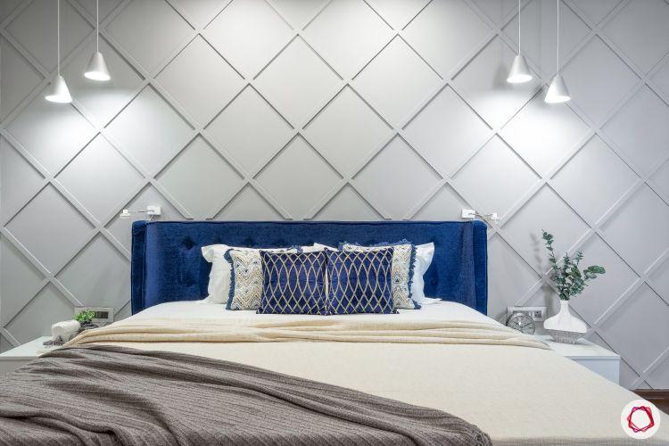 home mumbai-blue headboard designs-wood trimming designs-grey accent walls