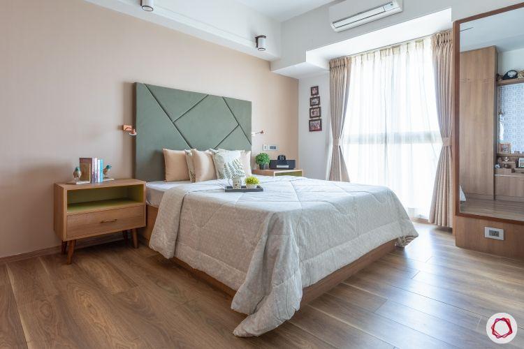 home mumbai-green headboard designs-wooden flooring designs