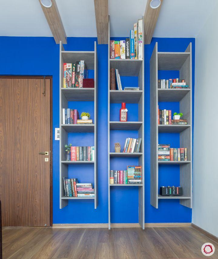 home mumbai-ladder cabinet designs-blue accent wall designs