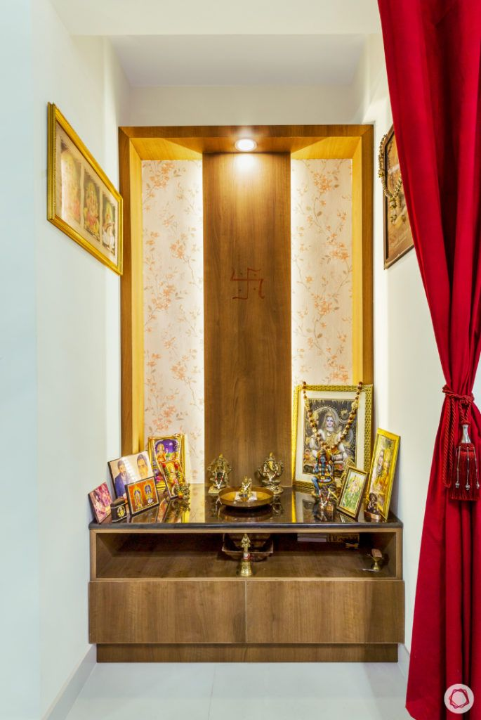 top-interior-designers-in-bangalore-pooja-room-red-curtain-laminate-granite