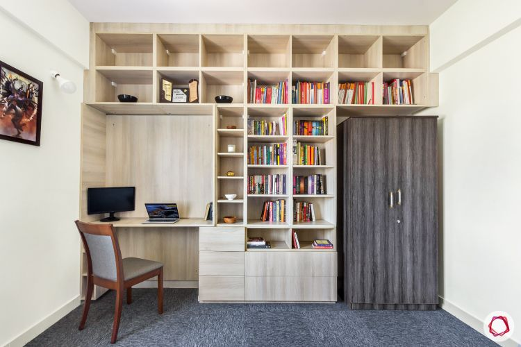 top-interior-designers-in-bangalore-wooden-bookshelf-study-room-wardrobe