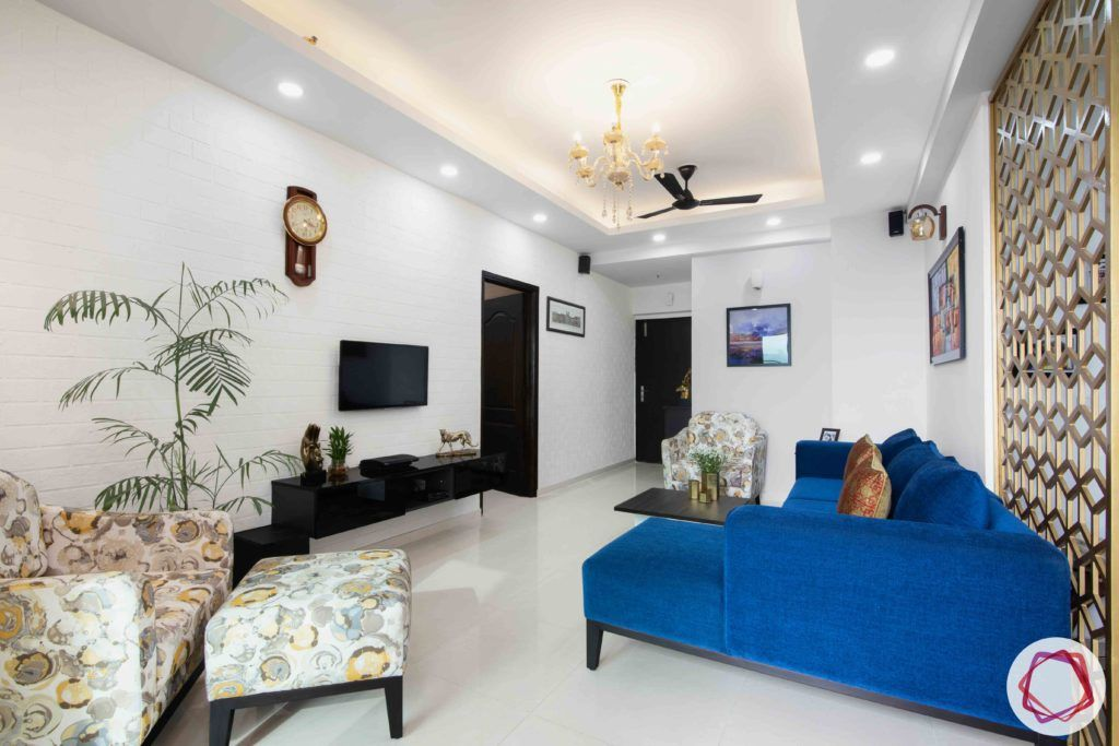 3bhk flat interior design-blue sofa design-floating tv cabinet designs