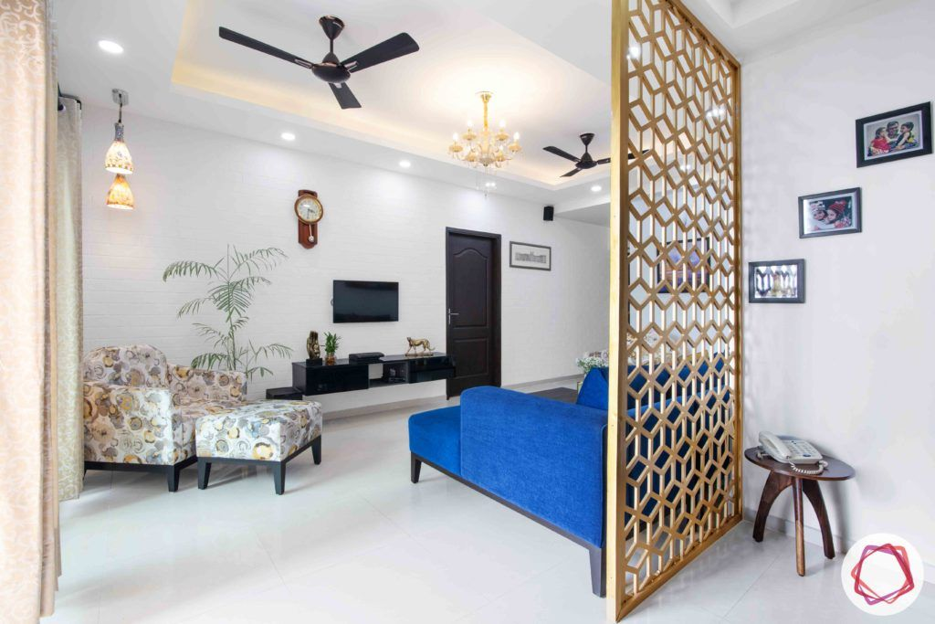 3bhk flat interior design-jaali partition designs-white ottoman designs