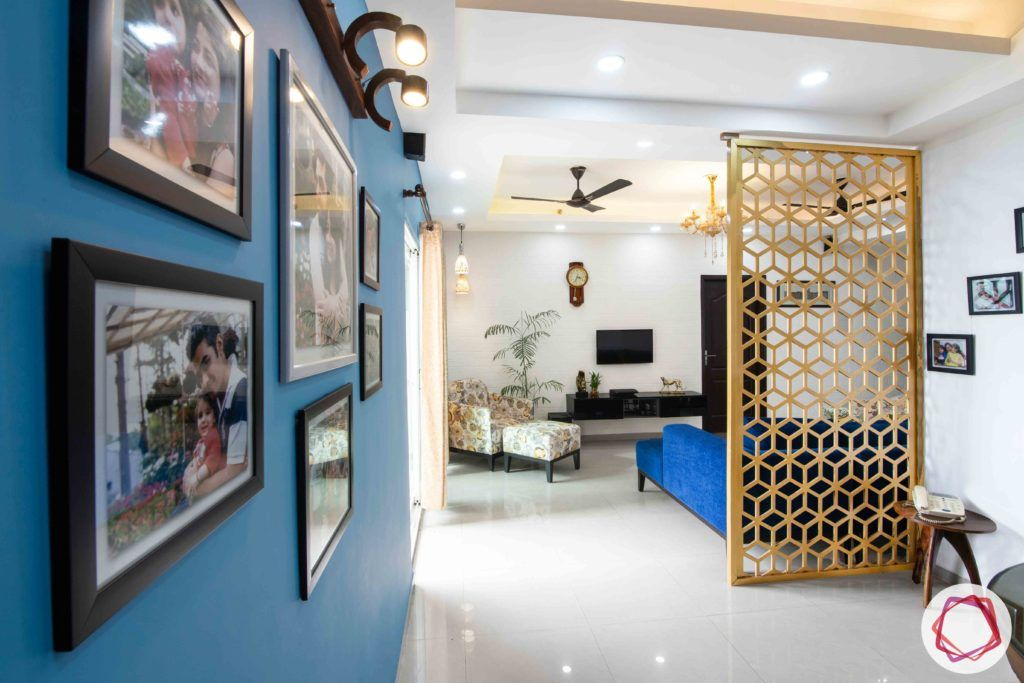 3bhk flat interior design-blue accent wall designs-gallery wall designs