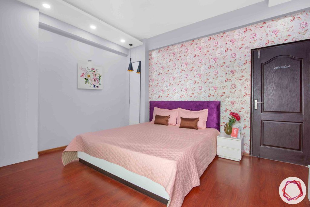 3bhk flat interior design-floral wallpaper designs-purple headboard designs
