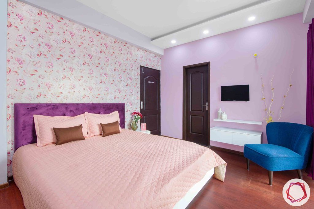 3bhk flat interior design-floral wallpaper designs-lilac wall paint-tv unit for bedroom