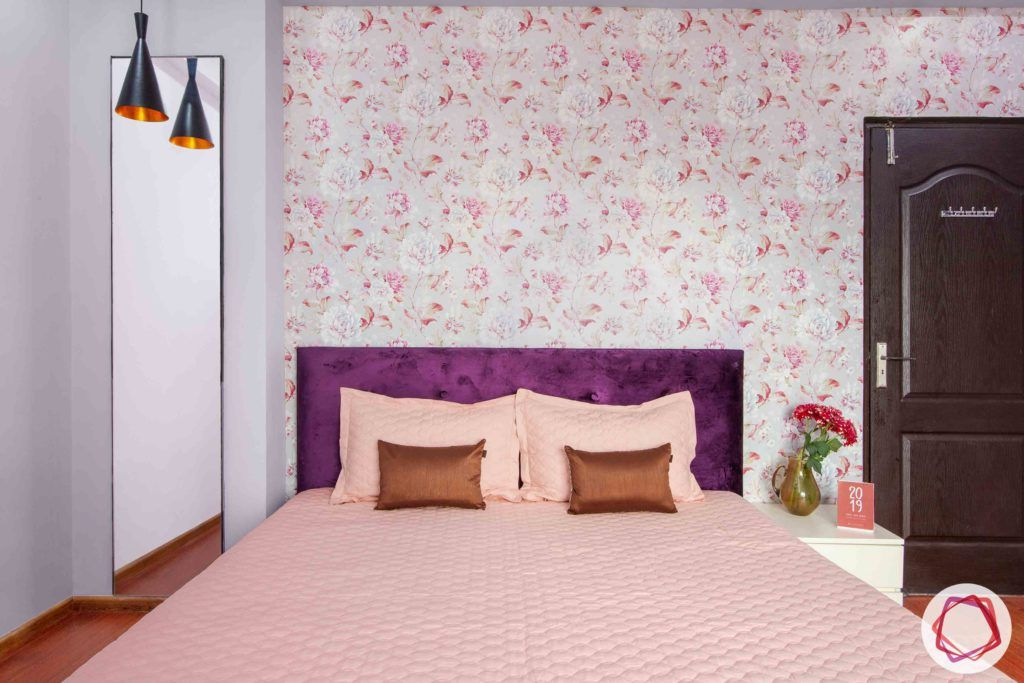 3bhk flat interior design-floral wallpaper designs-purple headboard designs-dressing mirror designs