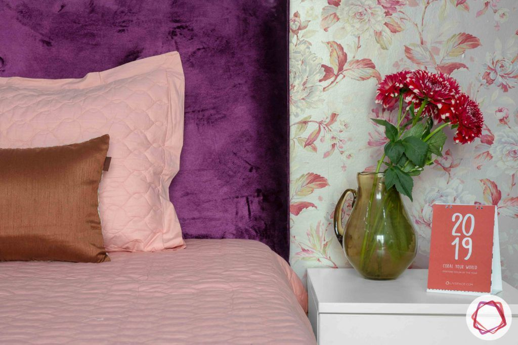 3bhk flat interior design-floral wallpaper designs-purple headboard designs-white side table designs
