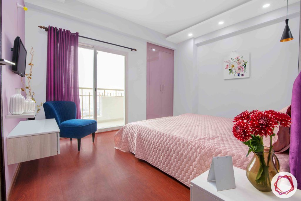 3bhk flat interior design-pink wardrobe designs-purple drape designs