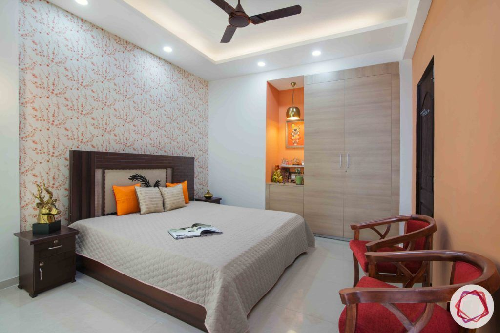 3bhk flat interior design-floral wallpaper designs-orange accent wall