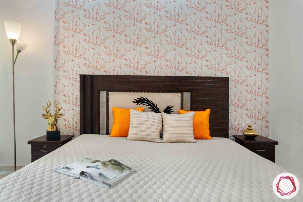 3bhk flat interior design-floral wallpaper designs-wooden headboard designs