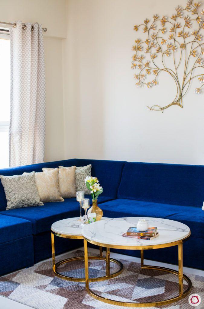 akshar elementa-l-shaped sofa-blue sofa-marble top centre table